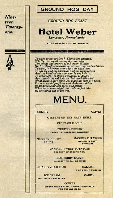 Ground Hog Day Menu, Hotel Weber, Lancaster, Pa., Feb. 2, 1921