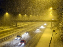 Slow in the Snow (Lady Wulfrun) Tags: nottingham uk bridge winter snow cars weather driving traffic motorway m1 britain streetlights headlights roads february nottinghamshire railwaybridge lanes trowell streetlighting wintry notts slowmoving motorways roadconditions