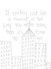 You Are A Tourist. (hollywoodhollows) Tags: city writing lyrics drawing text deathcabforcutie youareatourist