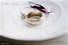 Forever Valentine (D. Photos) Tags: flowers engagementring rings weddingring macrophotography debbiephotos kimklassentextures