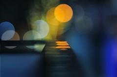 Transition 3 (hidesax) Tags: street blue light urban art yellow japan night lights tokyo nikon shinjuku cityscape nightscape bokeh steel object illumination rail nikkor transition d90 nikkor85mmf14d nikond90 hidesax