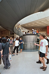 Wallless Elevator inside Louvre (Adrian Huber) Tags: light paris glass louvre elevator pyramide impei