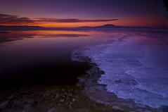 Different Layers_DSC0798 (antelope reflection) Tags: sunset lake reflection ice water clouds utah antelopeisland greatsaltlake utahstatepark nikond90
