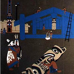 "<b>Indians of the Pacific Northwest</b><br/> Germaine Mauriaucourt (1932?-) ""Indians of the Pacific Northwest"" Silkscreen, n.d. LFAC #528<a href=""http://farm8.static.flickr.com/7011/6852262617_78d91dddbd_o.jpg"" title=""High res"">∝</a>"