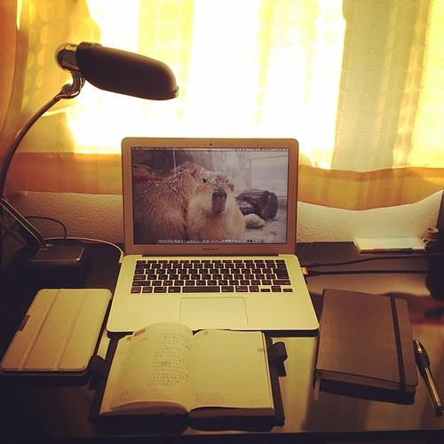 これをやると、「あ、もやもやがなくなった」って感じ。 毎週土曜の午前はほぼ日手帳やモレスキンに書いたことを振り返ったり、やりたいことを書いたりする時間。 ほぼ日に書けなかった日の日記を書くこともよくある。