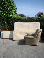 Having a Bad Chair Day / so beige (Ladybadtiming) Tags: trees wild green trash concrete garbage beige chair furniture empty sunny lonely mattress abandonned hbcd