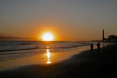 puesta de sol desde Maspalomas Playa, Maspalomas beach sunset