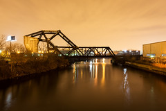 Chicago Plate 154 (Cycle the Ghost Round) Tags: old city railroad winter urban orange chicago classic yellow night gold glow moody steel gritty drawbridge lincolnpark sodiumvapor truss ashlandave trunionbascule