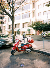 Moped (Andrew H Wagner | AHWagner Photo) Tags: street city light sunlight film analog mediumformat washingtondc dc washington districtofcolumbia 645 fuji kodak grain streetphotography rangefinder 120film fujifilm grainy moped portra find filmgrain ga645 portra160 kodakportra kodakportra160 fujifilmga645 fujiga645i filmshooters fujifilmga645ipro fujifilmga645i thefindlab