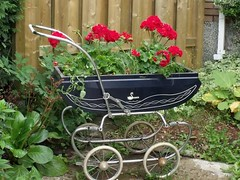 New life for a vintage baby carriage (irecyclart) Tags: baby flower metal boxes planter