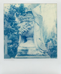 Urn (peterphotographic) Tags: old uk england london film cemetery grave graveyard urn analog square polaroid sx70 memorial britain tomb tombstone faded scanned instant decayed stokenewington abneypark northlondon abneyparkcemetery peterhall img121edwm