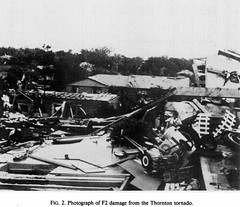 June 3, 1981 - Tornado damage in Thornton, Colorado. (NCAR)