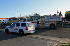 Red Deer Accident (S. Neilson Photography) Tags: red chevrolet fire accident 10 engine tahoe deer pump chevy alberta vehicle pierce motor rcmp paramedic velocity department mva collision pumper mvc