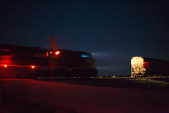 (CentralILRailfan) Tags: railroad sky moon night train dark stars lights illinois crossing ns norfolk engine railway rr wb il southern decatur locomotive siding ge freight westbound wab philo wabash norfolksouthern tolono