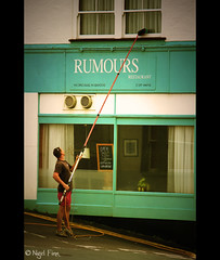 It All Comes Out In The Wash (Manin The Moon) Tags: street window restaurant joke brush pole clean dorset cleaner wipe lymeregis rumours