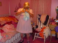 Folding my nylon panties. (Petticoat Brenda) Tags: pink cute panties princess cd laundry sissy crossdress showoff petticoat maryjaneshoes