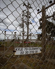 altona-9542-ps-w (pw-pix) Tags: abandoned industry overgrown danger fence concrete wire weeds industrial mesh decay live steel australia melbourne victoria demolishing chainlink transformers frame electricity poles alive framework abattoir demolished cyclone deserted decayed rubble substation altona highvoltage supply ruined insulators decommisioned steelskeleton altonanorth kyleroad formerabattoir kyle70clemantis 2230211000