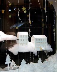 ELJB Christmas Window 2011 #3 (emilyluciedesigns) Tags: christmas trees houses snow window glitter paper stars design pompoms 2011