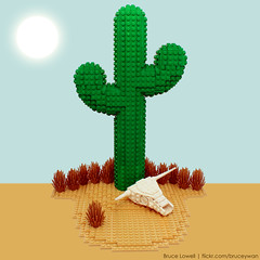LEGO Cactus (bruceywan) Tags: cactus sculpture stilllife skull design cow desert lego geometry sphere math photostream lowell moc lowellsphere brucelowellcom lowellspherebl