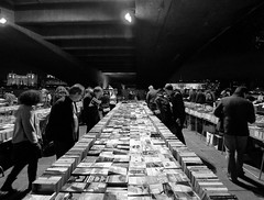 Late Night Book Shopping (Sean Batten) Tags: uk bridge england bw london night niceshot market books shoppers waterloobridge