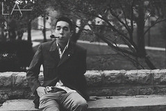 """""""I could tell you a really cool story about how I got this pipe, or I could be honest and tell you I got it at Kroger."""" (Lexie Alley) Tags: old school autumn trees light portrait blackandwhite tree male fall film nature fashion canon vintage project photography nice grain hipster young style naturallight 1940s teenager smoker ohiostate pipesmoker asianmales malepipesmokers"""