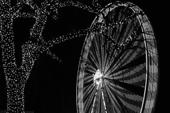 big wheel (brianephotos) Tags: christmas blackandwhite tree lights evening spin bigwheel luebeck riesenrad