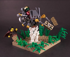 The flight (captainsmog) Tags: plants starwars lego smoke flight swamp jedi scifi vignette speeder ignition moc speederbike