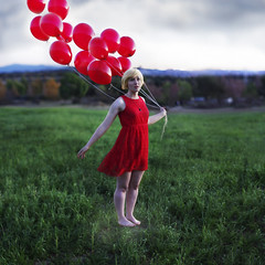 Preparation for liftoff. (David Talley) Tags: red cloud mountains field grass fog clouds dress balloon ballons reddress levitate