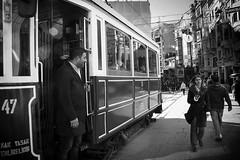 Taksim-Tunel (bass_nroll) Tags: street old people bw white canon vintage turkey shopping photography tram istanbul line via balck tunel taksim istiklal caddesi turchia beyoğlu pedonale 450d hystorichal