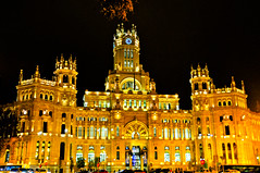 Madrid's City Hall - Palace of Communications at Night in Madrid Spain (mbell1975) Tags: madrid plaza city espaa building night de lights evening town hall office spain post cityhall eu palace espana government townhall rathaus cibeles communications ayuntamiento palacio neues comunicaciones rathause madrids ilobsterit