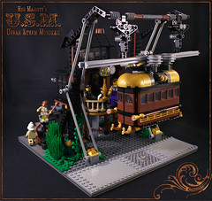 Urban Steam Monorail (captainsmog) Tags: people building station rivets lego victorian rail steam copper hurry monorail gears diorama steampunk