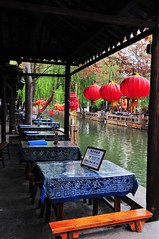 Canalside restaurant (Melinda ^..^) Tags: china light red reflection window water glass night dark table restaurant mirror town pattern chinese mel lantern melinda nite watertown zhouzhuang    canalside chanmelmel