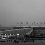 Olympic Stadium on a rainy day