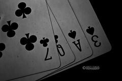 Love Dealt Me A Bad Hand- 1/52 (kirstyfowlerphotography) Tags: blackandwhite bw white black love cards photography three photo photos o ace queen v seven e l blackwhitephotos
