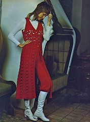 High Fashion In The 1970s (Wires In The Walls) Tags: woman fashion fireplace oven mullet knit posed style femullet scanned 1970s 1972 whiteboots crichet