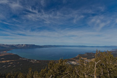 Lake Tahoe Blue (julesnene) Tags: travel aerialview laketahoe bluesky sierranevada bluewaters touristattraction viewfromthetop freshwaterlake gondolaride wideangleshot canoneos7d julesnene juliasumangil sapphirebluewaters seconddeepestlakeintheus shotfromheavenlyskiresort viewfromsouthlaketahoe wherecaliforniaandnevadameet