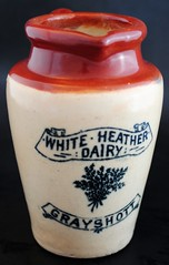 White Heather Dairy (ziggy ZOMba) Tags: england white english vintage antique heather cream hampshire collection pot jar packaging british dairy transfer rare creamer pictorial stoneware hants underglaze grayshott
