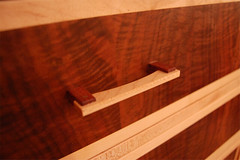 Walnut, maple dresser drawer pull detail