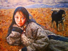 Tibetan girl (koknor) Tags: girl tibetan shaanxiprovince tibetangirl xiancity chinesemodernart tibetanchild artinchina xianmodernartmuseum realisminchineseart2012 tibetannomadgirl tibetangrasslandlife oilpaintingoftibetangirl paintingsoftibetanchild tibetangirlinwinter