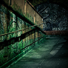 Sunk (subterraneancarsickblues) Tags: city urban green night canon subway nocturnal cumbria squareformat carlisle afterdark bsquare ef50mm18ii eos550d rebelt2i kissx4digital