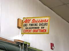 Scissor Sharpening (Mod Betty / RetroRoadmap.com) Tags: farmersmarket pennsylvania pa naamansroad boothscorner