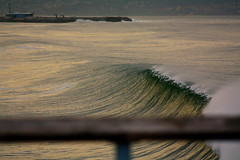 Hermosa Beach Sunrise (wademcmillan) Tags: ocean california storm cold texture la pier losangeles cool surf alone moody pacific empty offshore jetty tube barrel wave surfing sharp southern southbay surge swell hollow hermosabeach