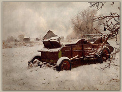 The Original Manure Spreader (Just Used Pixels) Tags: winter bw snow man barn wagon death utah blackwhite farm cigarette suicide stranger smoking tobacco textured johndeere heartattack sheds manurespreader