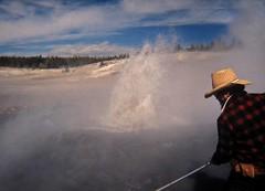 Assisting Don White At Blue Geyser, Porcelain Geyser Basin ... (Sea Moon) Tags: water fountain pool vent science yellowstone geyser geologist acidic eruption sampling splashing