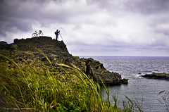 * (Violet Kashi) Tags: sea cliff nature bicycle silhouette bay weed photographer cloudy wheat greece