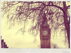 There. (Lucia Cortés Tarragó) Tags: pink london clock three sweet postcard bigben olympus vinage