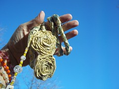 Golden Yellow handfasting cord (ClandestineArt) Tags: wedding gypsy wicca handfasting pagan wiccan fabricflowers fabricroses handfastingcord
