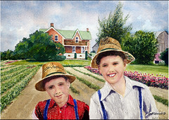 04-086 Playing In Solomon's Garden (Earl Reinink) Tags: art painting pastel amish watercolour earl mennonite the art painting amish fine earl pastel reinink watercolour reinink mennonite
