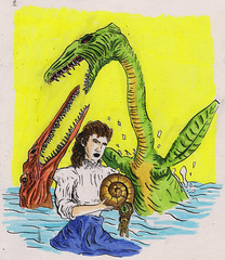 She picks seashells by the sea shore (Jim_V) Tags: portrait ink sketch brushpen dippen dinsoaur maryanning nibpen plesiosaurus ichthyosaurusplatydon fossilist