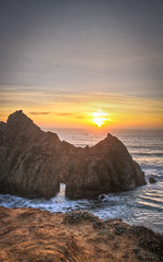 Pfeiffer Beach at sunset (Eliza Belle Photography) Tags: ocean california sunset sky seascape color beach nature beauty big dusk cliffs shore sur hdr pfeiffer